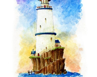 Lighthouse Island Watercolor Print