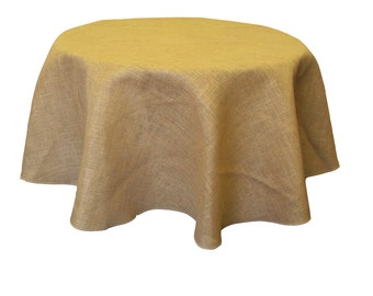 Natural Burlap Tablecloth Overlay 58/60-Inches Round. Made in the USA