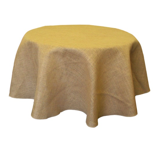 Natural burlap tablecloth overlay 58 60 inches round made in for 60 burlap