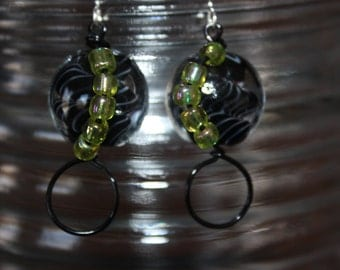 Black and Green Wire Wrapped Earrings