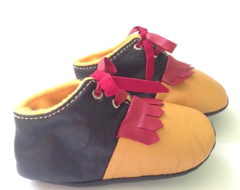 6-12 Months Slippers / Baby Shoes Lamb Leather  Mustard Black Red