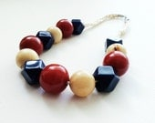 Navy blue beige and red beaded necklace / Spring and Summer necklace