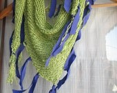 Pistachio green knitted scarf / Women fashion scarf hand knitted /Very functıonal. Good for all seasons..