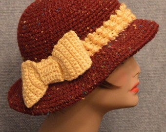 Womans Popcorn Brim Hat in Brick and Yellow