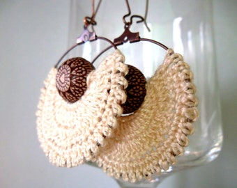 Crochet Earrings, Cream Beige Hoops, Beige and Brown Hoop Earrings, Angel Earrings, Thread Tribal Earrings, African Hoops, Made to Order