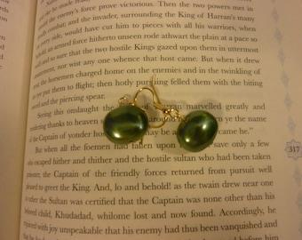 Dark Green Pearl Earrings