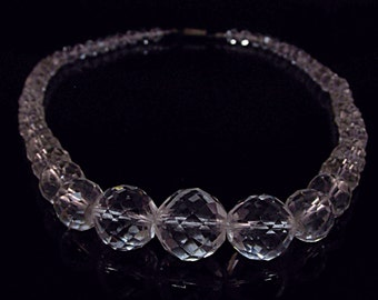 Graduated Faceted Round Clear Crystal Beaded Necklace