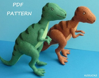 PDF sewing pattern to make a felt tyrannosaurus.