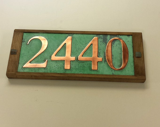 "Copper Address number plaque 3""/75mm or 4""/100mm, 4 x nos. with oak frame, handmade in UK, shipped worldwide o"