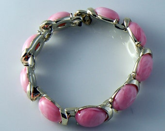 Signed Coro Pink Thermoset Bracelet