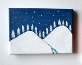 Night Woodland, Original Painting, Snow Pine Trees, Navy Deep Blue Sky, Small Canvas
