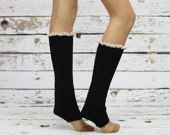Leg Warmers Black leg warmers,Knit Leg Warmers Cotton Leg warmers,Knit Lace trim,Legwarmers,women legwarmers,  boot warmers, sock