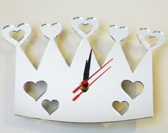 Heart Gems and Hearts out of Crown Clock Mirror - 2 Sizes Available