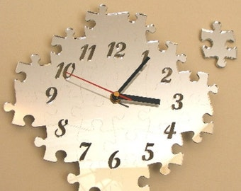 Jigsaw Puzzle Clock Mirror with Additional Puzzle Piece - 2 Sizes Available