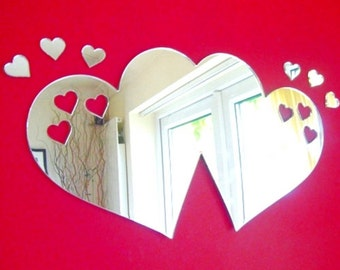 Joined Hearts out of Love Hearts Mirror - 5 Sizes Available