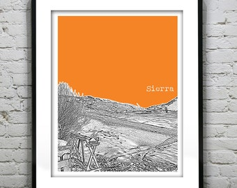 Sierra Nevada Art Print Poster Snowy Mountains