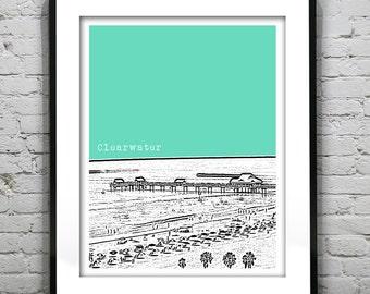 Clearwater Beach Florida Skyline Poster Art Print FL Version 2