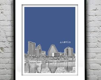 Austin Texas Poster skyline Art Print Austin Texas TX Version 3