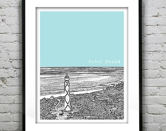 Outer Banks North Carolina Skyline Poster Art Print NC