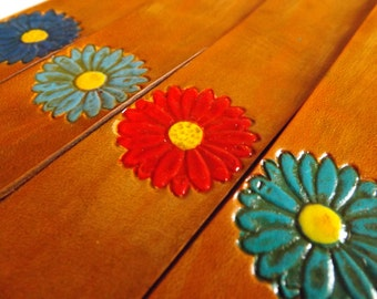 Leather Bookmark - Flower