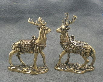 magic duo deer Thai mini brass amulet miniature good luck love attraction wealth lucky money rich Thailand nice gift talisman