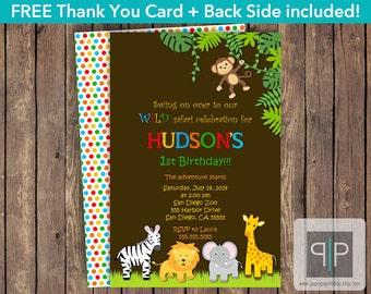 Jungle Birthday Invitation, Safari Birthday Invitation, Zoo Birthday Invitation, Boy Jungle Invite, Zoo Invite, Free Jungle Thank You Card