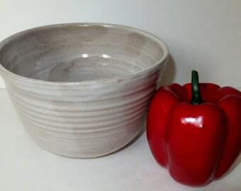 Rustic White Ceramic Quart Bowl