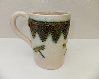 Green Dragonfly Coffee Mug, Extra Large Mug in Oatmeal with Lace