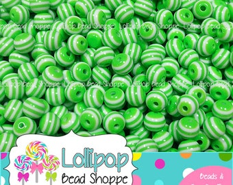 LIME GREEN Striped Beads 8mm Stripe Resin Beads Round Gum Ball Beads 50-ct Plastic Stripes Bubblegum Beads Bubble Gum Bead Bottlecap Beads