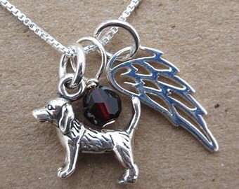 Beagle Angel Wing Mini Sterling Silver Necklace (birthstone charm)