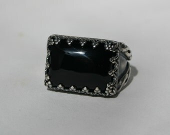 Handmade Antiqued Sterling Silver Black Onyx Men's Ring