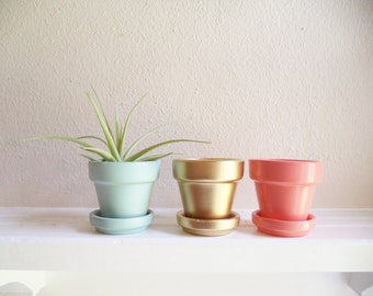 Items Similar To Silver Mini Planters Wedding Favors Set Of 3 Mini Flower Garden Pots On Etsy