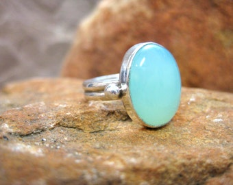 Chalcedony Sea-Green Gemstone Silver Ring Blue-Green Stone Sterling Band - Size 6.75
