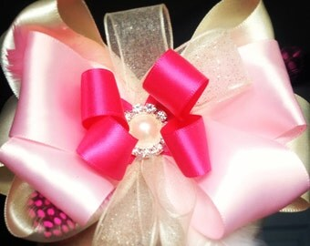 Baby pink and cream feather bow
