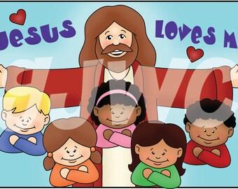 JESUS LOVES ME Children's File Folder Game - Downloadable pdf Only