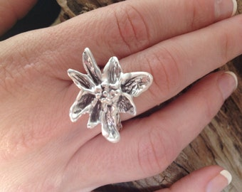 Bloom Sterling Silver Ring--lost wax carved