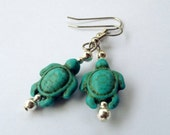 Turquoise Turtle Beaded Earrings