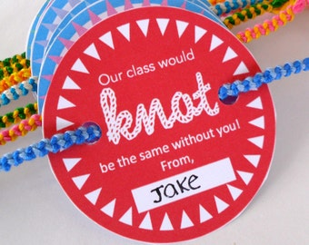 """INSTANT DOWNLOAD Red Friendship Bracelet Valentine Card Printable - """"Our class would knot be the same"""""""