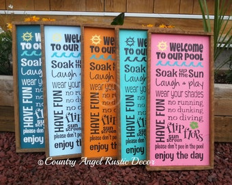 WELCOME to our POOL Rustic distressed wood RULES sign with colored graphics, Outdoor Pool Sign, Deck Sign, Cabin, Cottage, Backyard