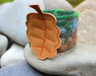 SPECIAL PRICE - Leather Leaf & Felt Cuff Bracelet Wristlet