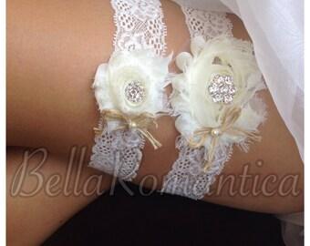 Best Seller - Rustic Wedding Garter - Boudoir Garter -  Wedding Garter Set - Country Western Garters - Ivory Shabby Garter Set - Burlap