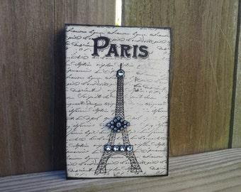 Paris Eiffel Tower Decor Cream and Black Block Sign French Wall Decor