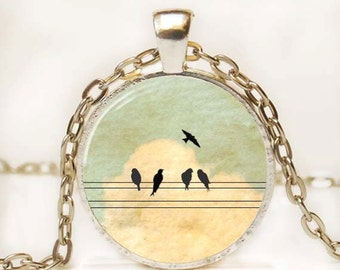 Bird on a Wire Pendant Photo Pendant Picture Pendant Altered Art Pendant Inspirational Pendant Resin Pendant