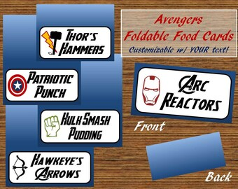 Avenger's Food Tag/Label Tent Cards