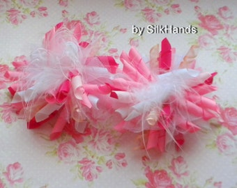 Corker Bow Hair Clip - Hair Bow Set - pink and white korker set with the tulle, feather