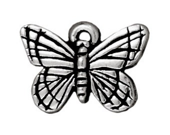 Set of 4 butterfly antique silver 16mm lead free pewter charms