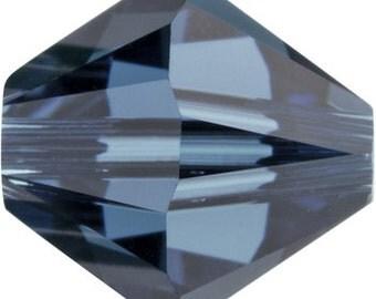 20 Swarovski Crystal Beads 6mm bicone 5328 montana (greyish blue) transparent