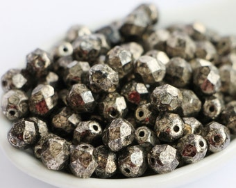 6mm Metalic Antic Platium Bronze (30psc) Czech Fire Polished Antique Picasso Bronze Glass Beads Polish Faceted Round