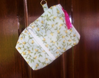 Wristlet- IPhone, Android, SmartPhone Light Blue with Yellow Flowers