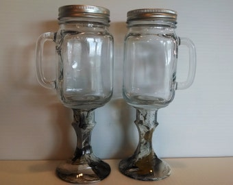 Mr and jars hydrodipped in muddy girl and next camo - Stemmed mason jars ...
